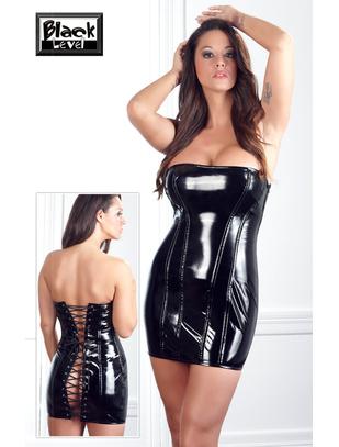 Black Level black vinyl mini dress