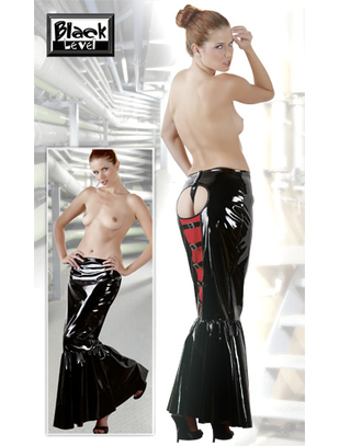 Black Level Long Vinyl Skirt