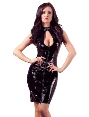 Black Level melna lakādas kleita ar dekoratīvu šņorējumu