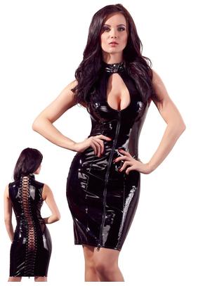 Black Level black vinyl mini dress with lacing