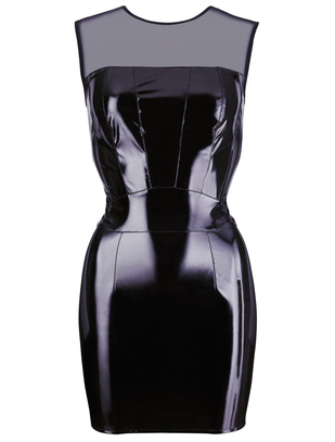 Black Level black vinyl mini dress with net mesh top