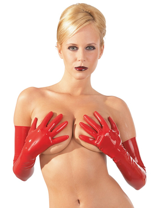 Late X red latex gloves