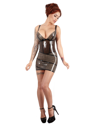 Late X smoky grey latex mini dress