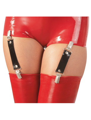 Late X black latex suspender straps (1 pair)