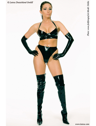 Latexa black latex thong
