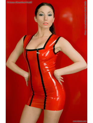 Latexa red latex mini dress