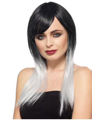 Fever Deluxe black/white ombre wig