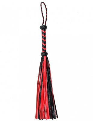 Let's Play black & red leather flogger