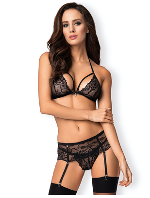 Obsessive black lace three-piece lingerie set