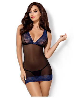 Obsessive black sheer chemise with blue lace