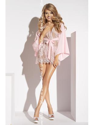 Lume di Luna Barletta pink lace short peignoir