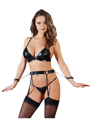 Cottelli Collection Bondage lingerie set with handcuffs
