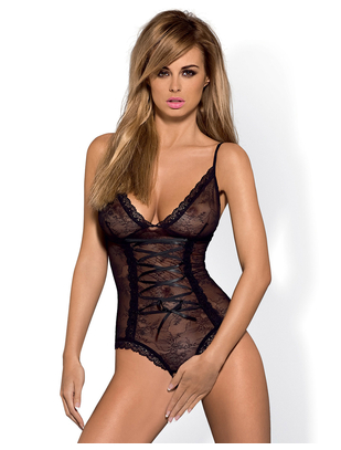 Obsessive black mesh body with lacing