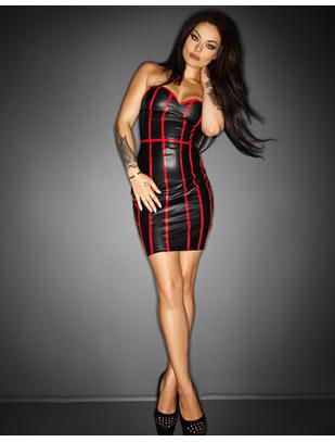 Noir Handmade juoda, metalinio spindesio mini suknelė