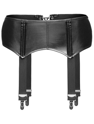 Noir Handmade black wetlook suspender belt