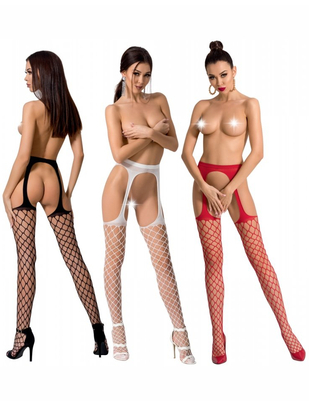 Passion crotchless net tights with cut-outs