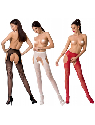 Passion crotchless patterned tights with cut-outs