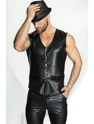 Noir Handmade black vest with patent vinyl elements