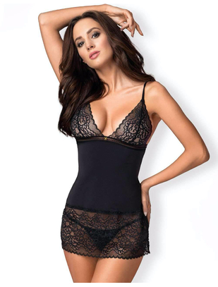 Obsessive black open back chemise with lace inserts