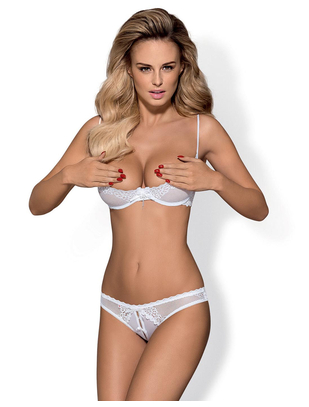 Obsessive white shelf bra with crotchless thong