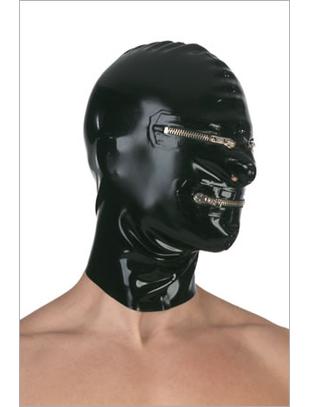 Blackstyle lateksa maska ar atvērumiem un rāvējslēdzējiem