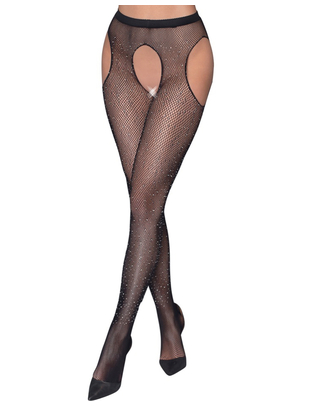 Cottelli Lingerie black net tights with cutouts and rhinestones
