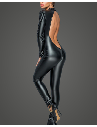 Noir Handmade black matte look open back catsuit