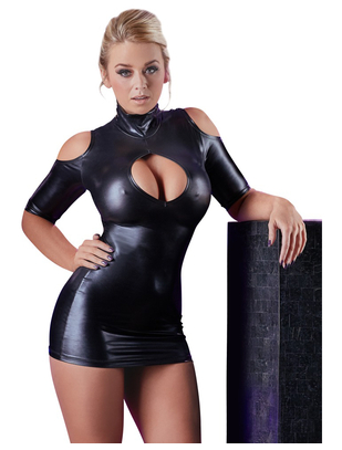 Cottelli Collection black wetlook cold shoulder mini dress