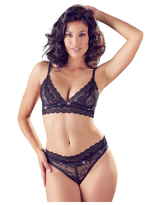 Cottelli Collection Black Lace Lingerie Set With Decorative Rhinestones