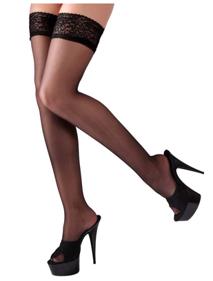 Cottelli Collection Black Hold-up Stockings with Wide Lace