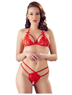 Cottelli Collection Red Lace Two-piece Lingerie Set