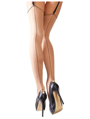 Cottelli Collection Light Skin Tone Suspender Stockings with a Decorative Seam
