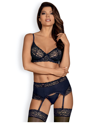Obsessive dark blue lace lingerie set