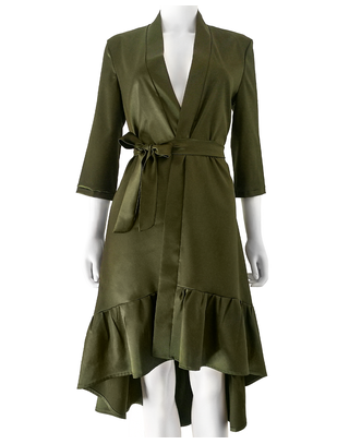 SexyStyle dark moss green asymmetric cut long robe