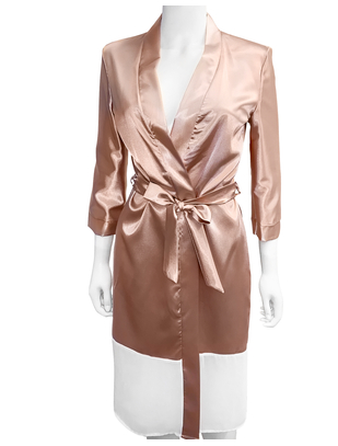 SexyStyle rose gold robe with white hemline