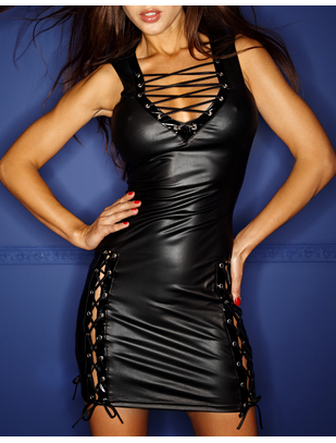 Noir Handmade black wet look mini dress with lacing