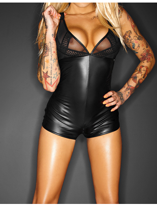 Noir Handmade black matte look bodysuit with sheer inserts