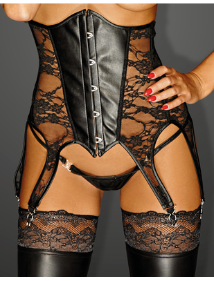 Noir Handmade black lace corset with suspenders