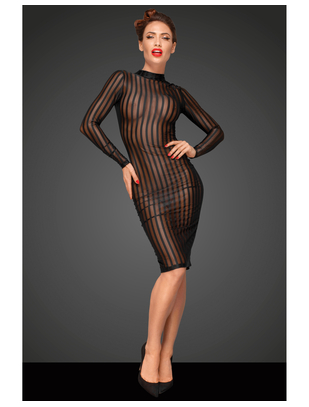 Noir Handmade black striped sheer mesh tube dress