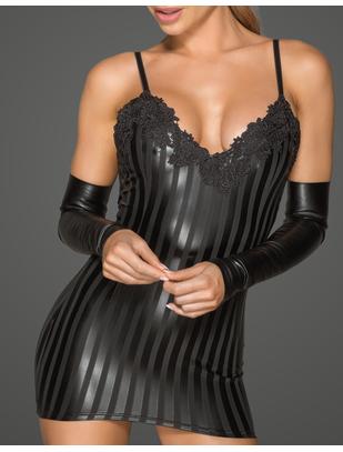 Noir Handmade черное матовое платье-мини в полоску