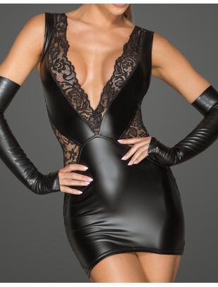 Noir Handmade черное матовое платье-мини с кружевом