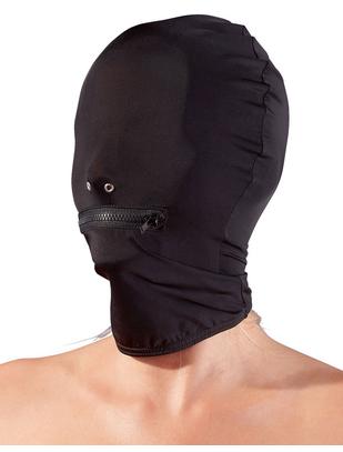 Fetish Collection черная маска из ткани с отверстиями