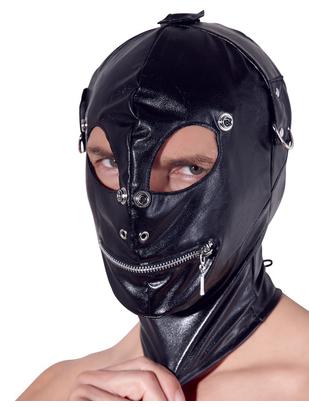 Fetish Collection melna mākslīgās ādas maska ar atvērumiem