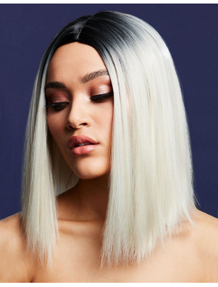 Fever Kylie platinum blond/black ombre short straight wig