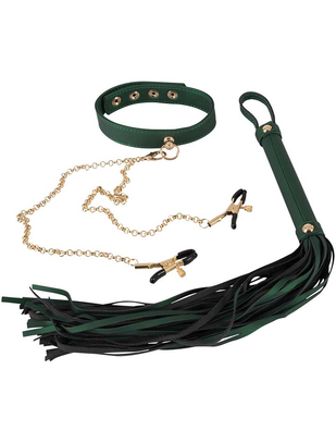 Bad Kitty Flogger and Collar in Green
