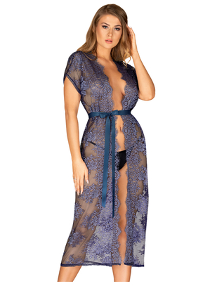 Obsessive blue long lacy peignoir