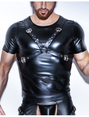 Noir Handmade black matte look T-shirt with harness