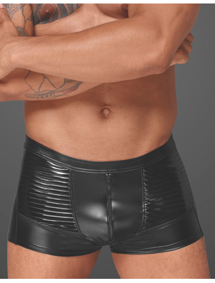 Noir Handmade black trunks with vinyl pleats