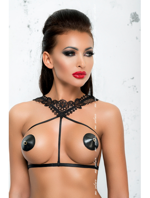 Me Seduce black harness with lace neckline