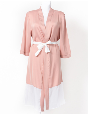 SexyStyle rose gold robe with white belt and hemline